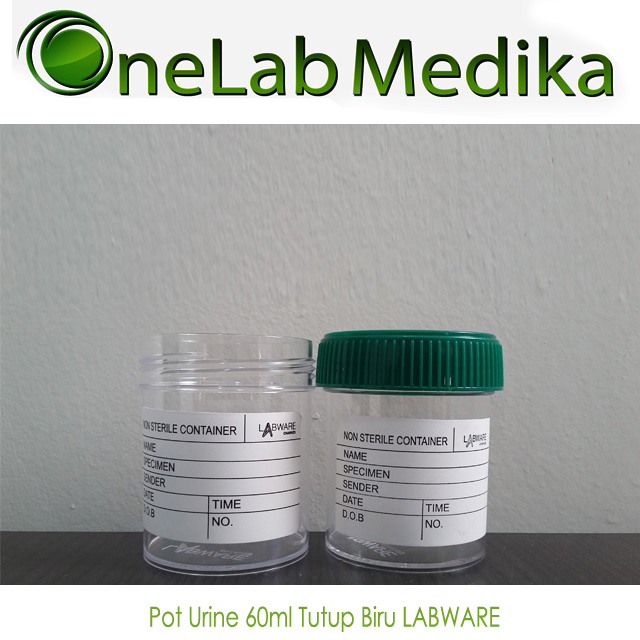Pot Urine 60ml Tutup Biru LABWARE