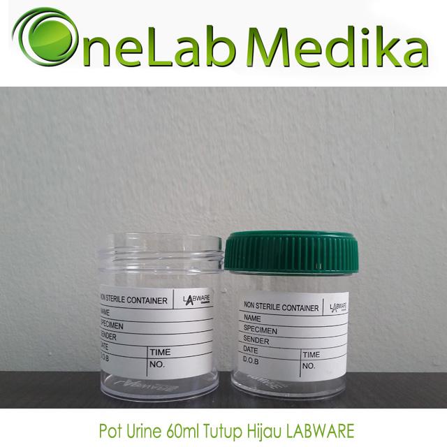 Pot Urine 60ml Tutup Hijau LABWARE