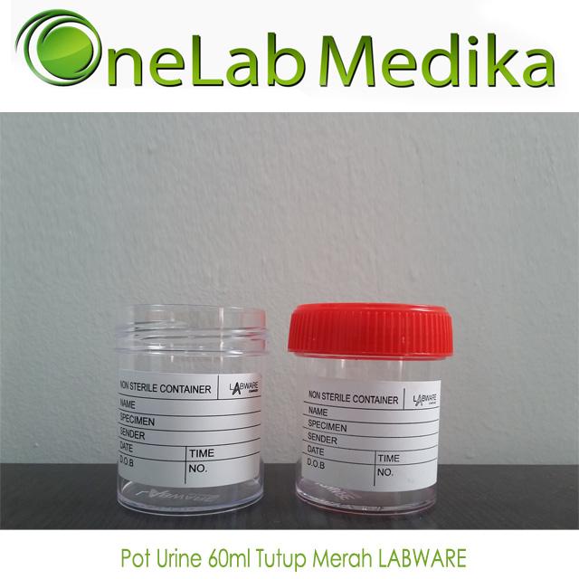 Pot Urine 60ml Tutup Merah LABWARE